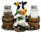 Ebros Farm Cow w Two Country Barrels SaltPepper Holder Resin Statue 45H