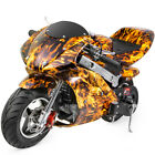 Gas Pocket Super Mini Bike Motorcycle Kids 40cc 4 Stroke Engine Yellow Flame