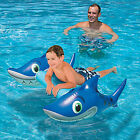 Inflatable Pool Toy Float Water Grinning Shark Raft Ride On Swimming Toy 26 x