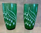 2 Vintage Forest Green Drinking Glasses White Lily of the Valley Flowers
