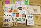 Wood mounted rubber stamps lot of 26 scrapbook crafts classroom