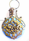 EARLY 1800S VIEUX PARIS BLUE OPALINE SCENT BOTTLE WITH DOVES AND GILT 1001