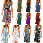 Women Loose Solid A Line Midi Dress Sleeveless Casual Summer Sundress Plus Size