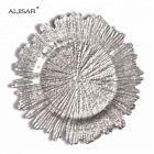 Glass Charger Plates Silver Set of 4