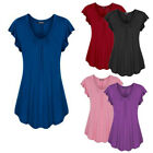 Plus Size Womens Summer Short Sleeve Blouse Solid T Shirt Casual Loose Tunic Tee