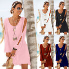 Womens Long Sleeve Cold Shoulder Solid Mini Dress Cocktail Party Summer Sundress