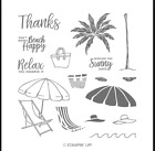 Stampin Up retired BEACH HAPPY stamp Set palm tree waves hat sentiments