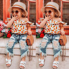 2PCS Toddler Kids Baby Girl Outfit Off Shoulder Ruffle Top+Jeans Denim Pants Set