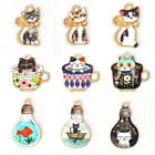 10Pcs Cat Enamel Alloy Charms Pendants For DIY Necklace Jewelry Making Findings