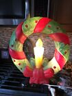 Vintage Empire Blow Mold Illuminated Christmas Wreath Made In USA