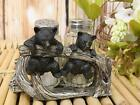 Rustic Woodland 2 Black Bear Cubs Hanging On Branch Salt And Pepper Shakers Set