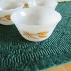 Six Vintage FIRE KING 424 Milk Glass Wheat 6oz Dessert Custard Dish Bowl USA