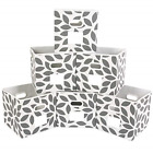 Set of 6 Fabric Storage Bins Cubes Baskets Containers with Dual Plastic Handles