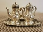 Vintage Silver Nickel Platted Tea Pot Salt and Pepper Shakers with Tray