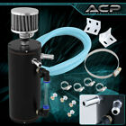 High Capacity Aluminum Oil Tank Catch Can Filter Engine Turbo Black W/ Red Trim