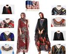 Lady Georgette Moroccan Kaftan Dress Ethnic Print Robe Jumpsuit with Headscarf