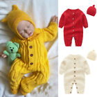 US Newborn Baby Girl Boy Knitted Long Sleeve Romper Jumpsuit+Hat Winter Clothes