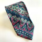 Don Giovanni Mens Vintage Tie Blue Teal And Pink 80s 90s Necktie