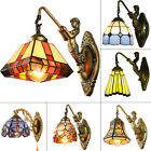 Tiffany Style Bronze Mermaid Wall Lamp Stained Glass Lampshade Wall Sconce Light