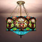 Tiffany Baroque Lotus Stained Glass Ceiling Light Drum Pendant Lamp Chandelier