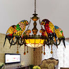 Vintage Tiffany Style Baroque Parrot Chandelier Stained Glass Ceiling Light