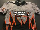 Harley Davidson Racing Screaming Eagle Embroidered Mens Button Up XL Shirt