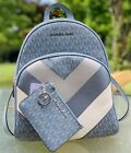MICHAEL KORS ABBEY MD BACKPACK BAG MK SIGNATURE BLUE SILVER and COIN WALLET