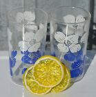 Set of 2 Swanky Swig Glasses with White and Blue Flowers 4-5/8