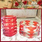Vintage Ruby Cut to Clear Glass Thumbprint Ashtray Cigarette Holder Smoking Set
