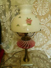 Fenton Opalescent Swirl Brass and Marble Electric Table Lamp  MILK Glass Shade
