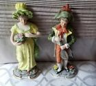 VTG Set of Two Colonial Lady and Man Hand Painted Ceramic Figurine