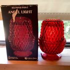 Vtg Indiana Glass Diamond Point Sawtooth Fairy angel Lamp Light Red Flash in box