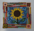 Primitive Sunflower Primitive Rug Hooking Kit With 8 Cut Wool Strips