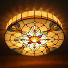 Vintage Tiffany Style Stained Glass Drum Shade Flush Mount Ceiling Light Fixture