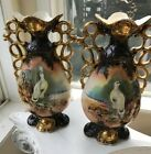 Antique Pair Of Tall Porcelain Vases Hand Painted And Marked york 14 1 2T