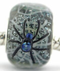 Halloween Spider Web glass european charm bead Mandy Ramsdell silver lampwork