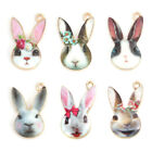 10pcs Easter Colorful Rabbit Enamel Charms Pendants DIY Crafts Jewelry Findings