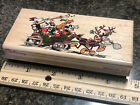 DISNEY CHRISTMAS STAMP 410 F by Rubber Stampede Mickey Minnie Pluto Horace