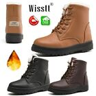 Women's Winter Warm Leather Ankle Work Boots Fur Thicken Ski Flats Casual Shoes