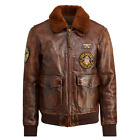 Polo Ralph Lauren Mens Vintage Leather Shearling Distressed G 1 Bomber Jacket