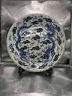 Antique Chinese Blue  White Dragon Plate 11 1 2  Marked Qing Dynasty