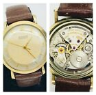 Vintage Gruen 10k GF Precision 452SS Mens Automatic 17j Swiss Leather Watch RUNS