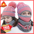 Warm thick winter hat Beanies Velvet Thick Mask Ear Protector Set