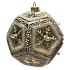 Brown Beaded Snowflake Dodecahedron Ball Polish Glass Christmas Tree Ornament