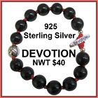 Sterling Silver DEVOTION Inspirational Bracelet Black Bead Red Stretch NWT NOS