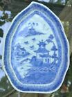 Vintage Blue Willow Leaf shape Relish Dish