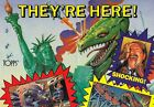 DINOSAURS ATTACK! 1988 TOPPS BOX PROMO POSTER TRADING CARDS - STICKERS
