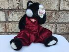 """13"""" LARGE JOINTED BLACK/WHITE MOUSE-EBONY TY BEANIE BABY BEAR 1993 MAROON TAG"""