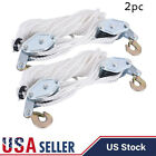 2 Ton Poly Rope Hoist Pulley Wheel Block And Tackle Puller Lift Tools 2pcs