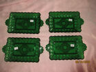 vintage GREEN GLASS INDIVIDUAL / MINI TRAY 1940 - SET OF 4 - VINTAGE